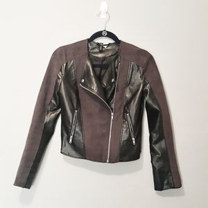 H&M DIVIDED Faux Leather and Suede Biker Jacket 4…